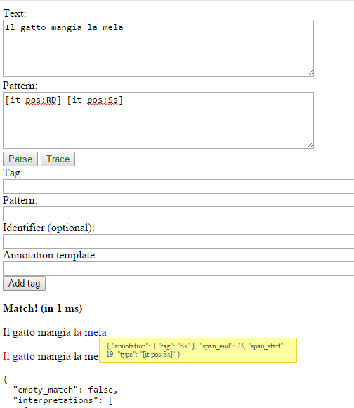 Fleximatcher web interface, showing the annotations over a snippet of text
