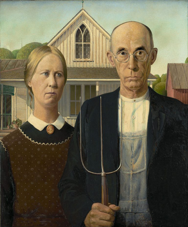 American Gothic by Grant Wood, from Google Art Project.